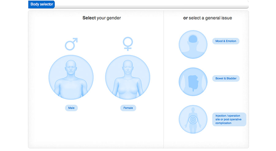 Gender selection on body map screen