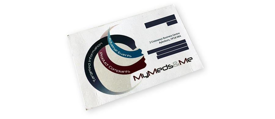 Previous MyMeds&Me logo on a business card